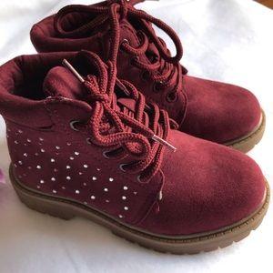 CRB Girl Zahra Plum Hiker Boots Dainty Rhinestones